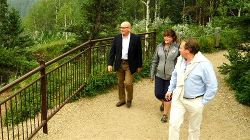 RhPAP's Bernard Anderson and Holly Handfield join Dr. Gillett for a tour of the Sulphur Gates, near Grande Cache.