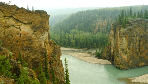 Sulphur Gates, the meeting place of the Smoky and Sulphur Rivers located just SW of Grande Cache.