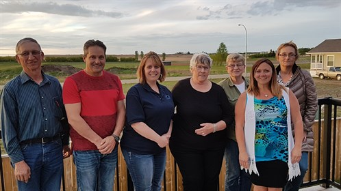 RhPAP Development Consultant Colleen Lindholm (second from right) with the Consort and District Medical Centre Society.
