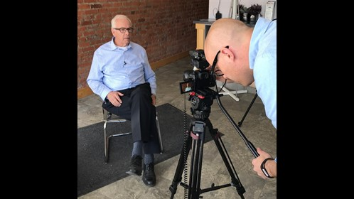 Lucas Warren from our communications, marketing and research team prepares to do an interview with Dr. Bert Rietsma, from the Crowsnest Pass.