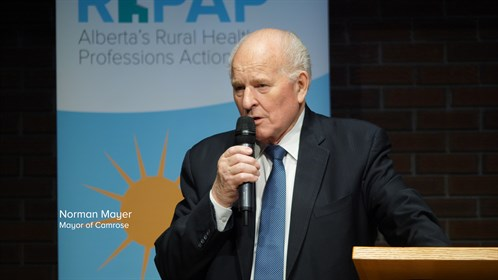 Norman Mayer, mayor of Camrose, spoke at the event.