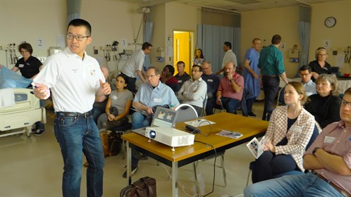 Dr. Ping-Wei Chen prepares the 17 attending physicians for the next exercise in hands-on ultrasound training.