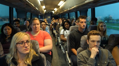 Students on the bus tour of Cold Lake on Sunday morning.