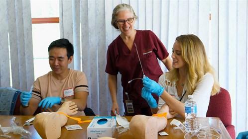 Roberta Sadler, RN, teaches IV Starts at the Cold Lake Skills Day