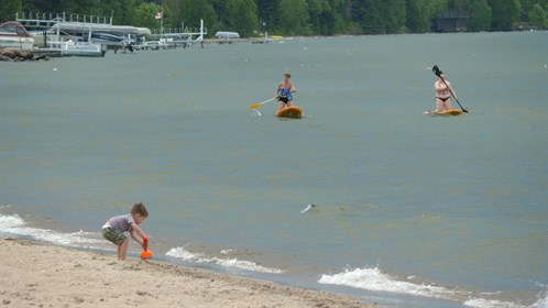 Paddleboarders on Cold Lake.
