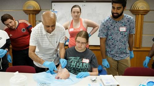 Dr. Sandrasekeram Parameswaran taught suturing at the Cold Lake Skills Day