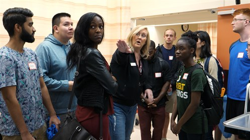 Cathi Garon gives students a tour of the Cold Lake Healthcare Centre