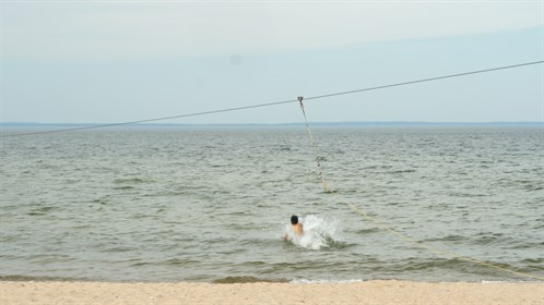 There is a zipline at the beach in Cold Lake.
